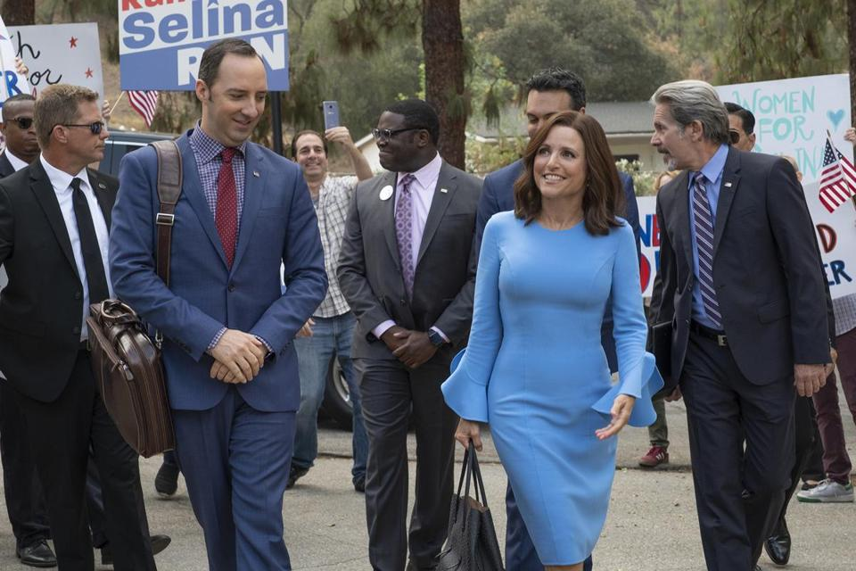 """Veep"" is back Sunday for its final season, with (from left) Tony Hale, Sam Richardson, Reid Scott, Julia Louis-Dreyfus, and Gary Cole."