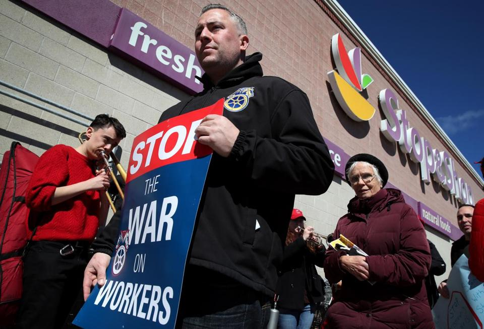"Teamster Payton Corbett (Teamster Local 122) joined members of the United Food and Commercial Workers Union (local 1445) and their supporters during a ""Customers Care"" rally at Stop & Shop in Somerville on March 23."