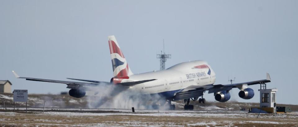 A British Airways plane touching down in Denver in 2016, presumably its correct final destination.