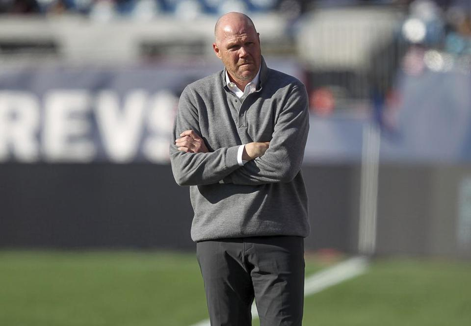 New England Revolution head coach Brad Friedel during the first half of an MLS soccer game against the Columbus Crew, Saturday, March 9, 2019, in Foxborough, Mass. (AP Photo/Stew Milne)