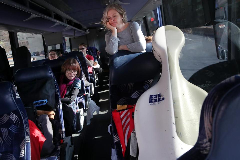 Colleen McGary-Smith waited as the bus prepared to head to New York on Saturday.