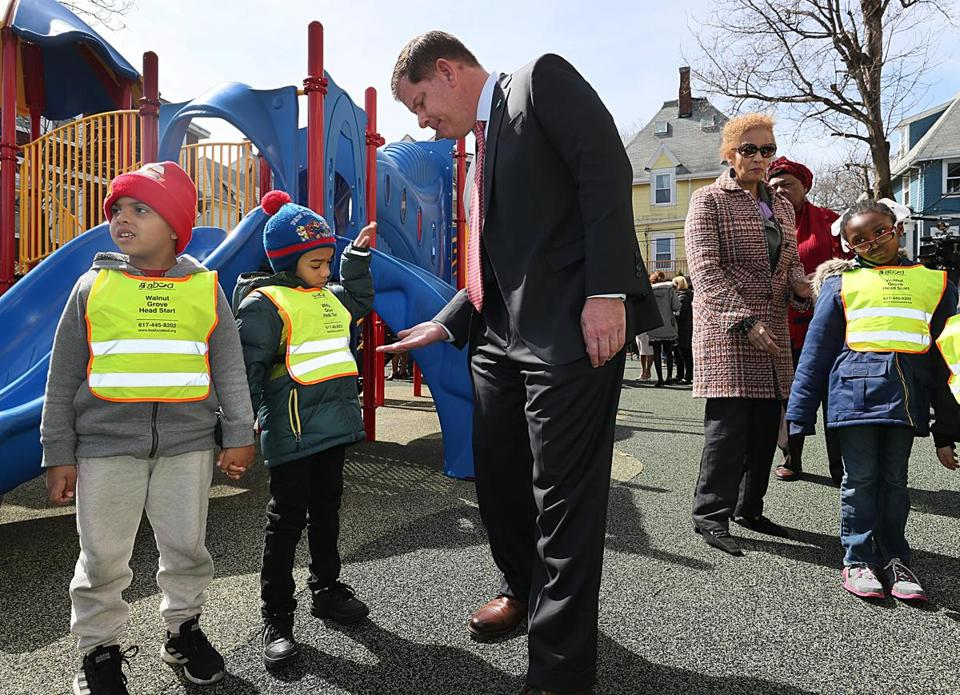 Mayor Martin Walsh greeted students Tuesday at Walnut Grove Head Start after he announced a $15 million investment to expand access to free high-quality pre-K classroom seats in Boston.
