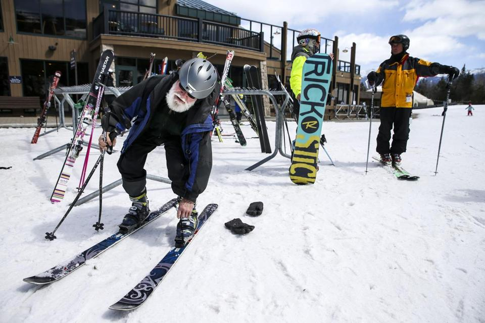David Karaus, who said he's over 80, put on his skis last week at the Mount Washington Resort in Bretton Woods, N.H.