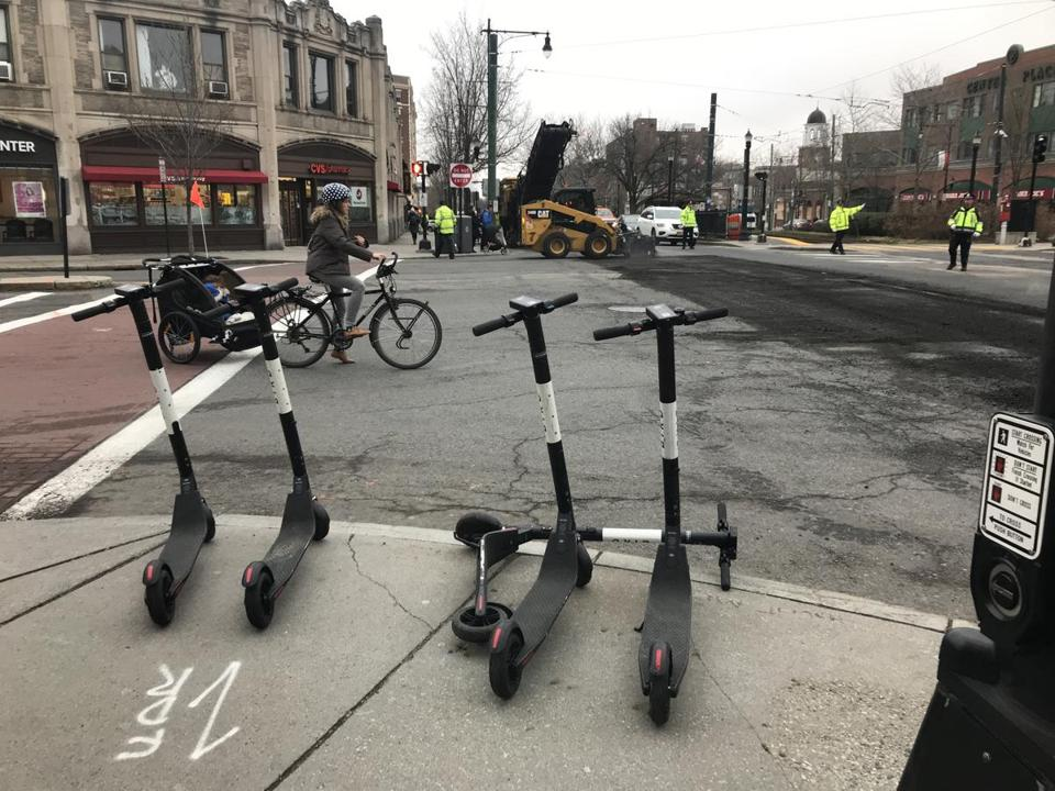 Bird e-scooters parked at Coolidge Corner.