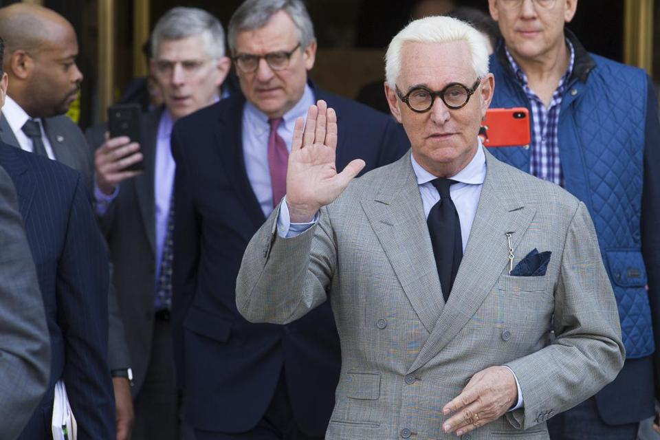 FILE - In this Thursday, March 14, 2019, file photo, Roger Stone, an associate of President Donald Trump, leaves U.S. District Court after a court status conference on his seven charges: one count of obstruction of an official proceeding, five counts of false statements and one count of witness tampering, in Washington. On Friday, April 12, 2019, Stone asked a federal judge to compel the Justice Department to turn over a full copy of special counsel Robert Mueller's report on the Russia investigation as part of discovery in his criminal case. (AP Photo/Cliff Owen, File)