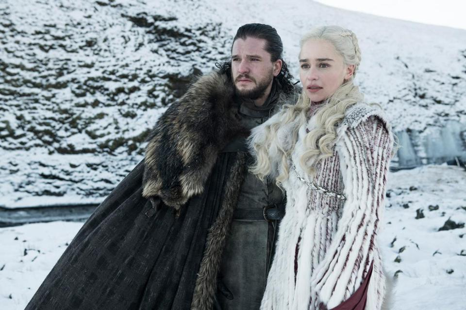 "Kit Harington as Jon Snow, left, and Emilia Clarke as Daenerys Targaryen in a scene from ""Game of Thrones."""