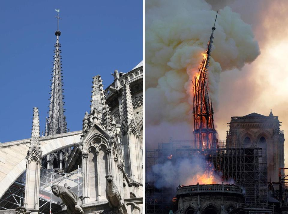 This combination photograph shows the steeple of Notre-Dame Cathedral — on left, taken in June 2016, and on right, as it collapsed on Monday.