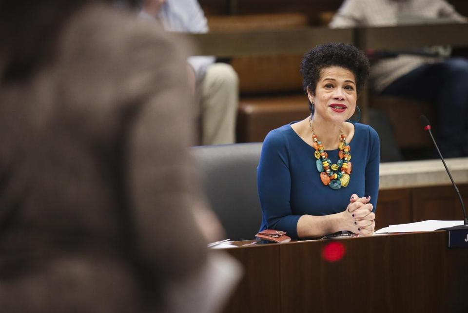 BOSTON, MA - 01/15/2020 Newly inaugurated Councilor Julia Mejia smiles at the council after delivering her maiden speech in the Iannella Chamber in City Hall. Councilor Mejia is the first foreign-born Afro-Latina immigrant woman to sit on BostonÕs City Council. Erin Clark / Globe Staff