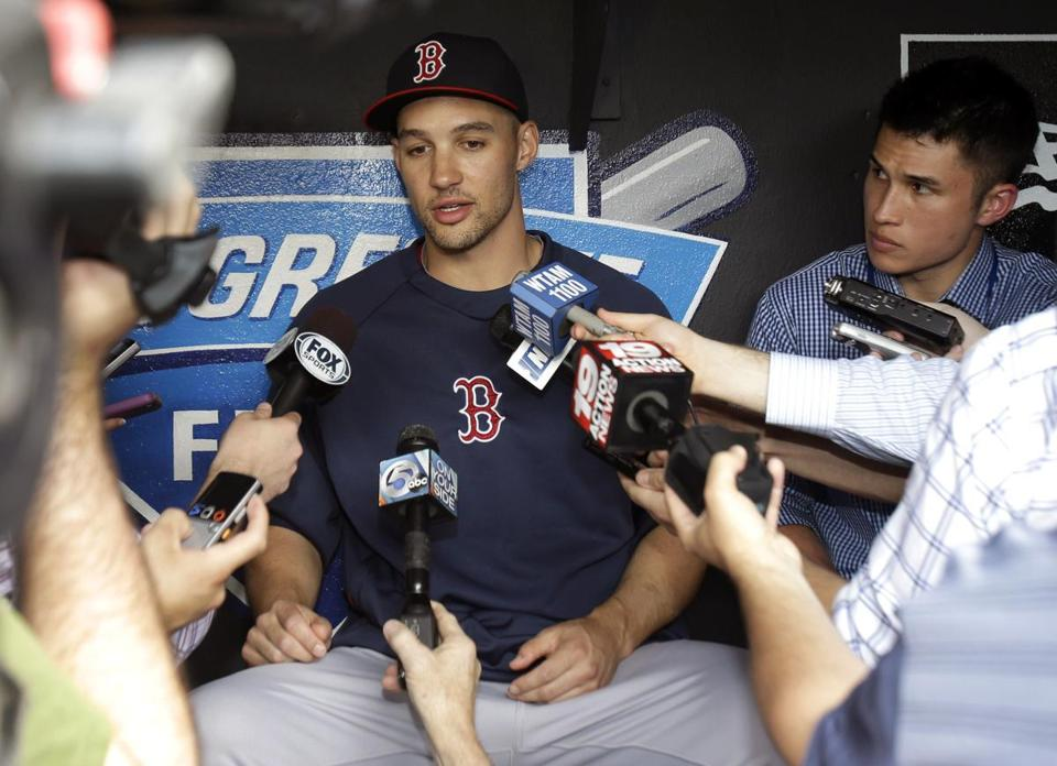 Former Indian Grady Sizemore played his first game in Cleveland since the end of the 2011 season. (AP Photo/Tony Dejak)