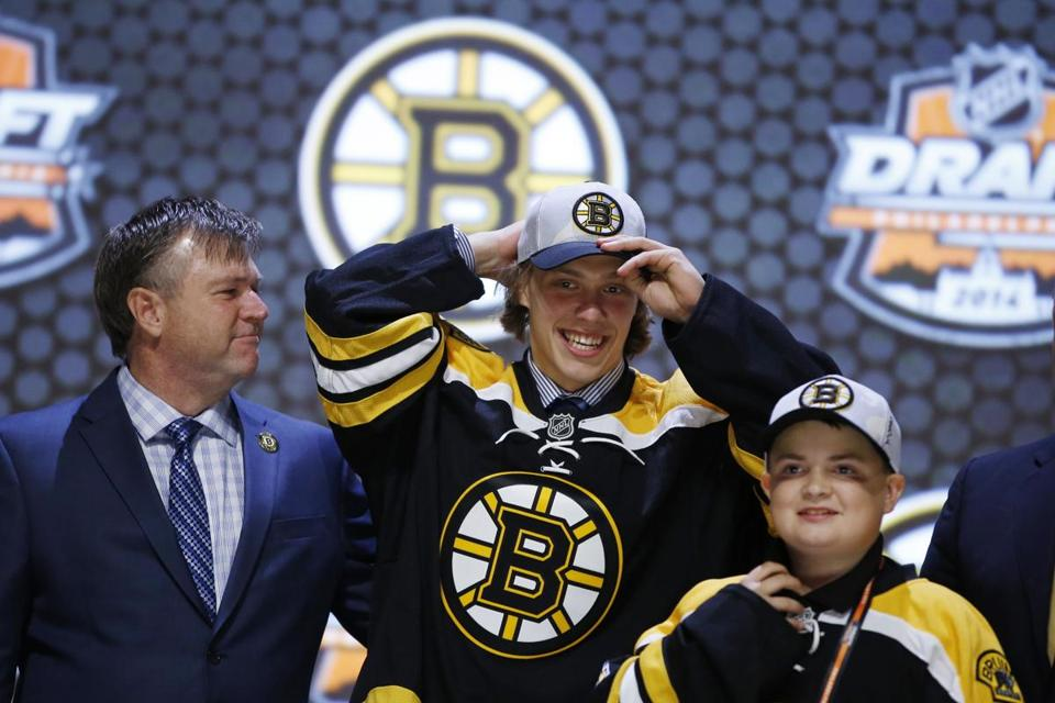 David Pastrnak may get a chance to compete for a roster spot after the Bruins picked him in the first round last month.