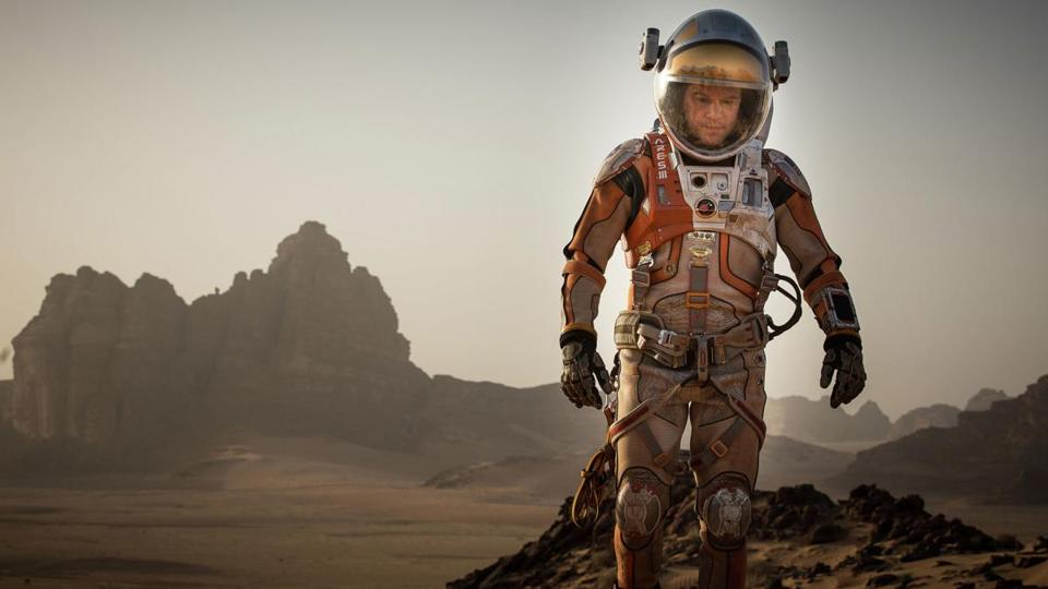 "Matt Damon in a scene from the film ""The Martian."""