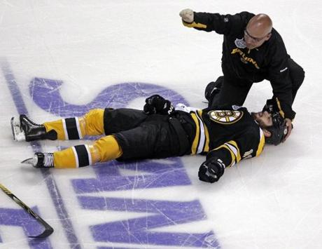 The series seemed to turn in Game 3 when Aaron Rome knocked Boston's Nathan Horton out of the series with a head injury. Horton was carted off the ice.