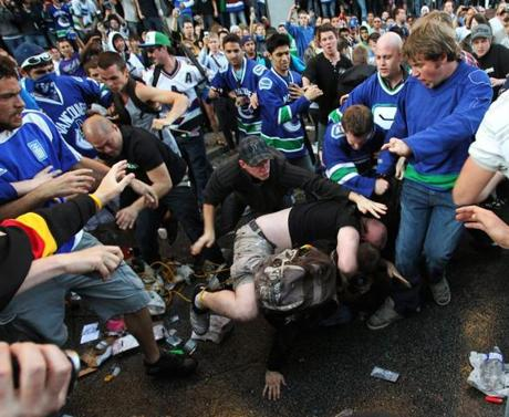Fights broke out in the aftermath of the Canucks' loss.