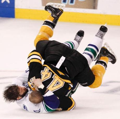 The Bruins seemed to intensify after Horton's injury, and Dennis Seidenberg fought with Vancouver's Ryan Kesler fight in the third period.