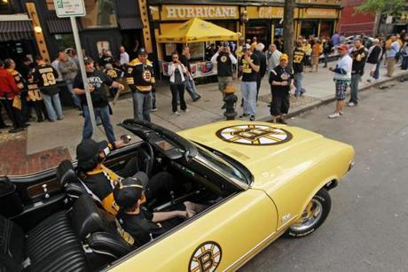 Bruins fans got revved up for Game 6, when Stephen Doran and his son, James, drove their Bruins-themed 1972 Oldsmobile Cutlass Supreme around the streets of Boston.