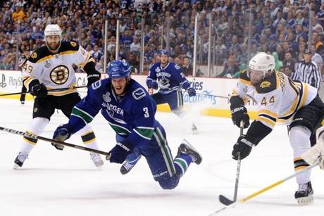 Bieksa fell after taking one of the Canucks' 37 shots in Game 7.