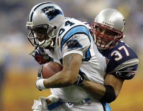 Harrison tackled Panthers tight end Jermaine Wiggins, who was with the Patriots when they won Super Bowl XXXVI two years earlier.