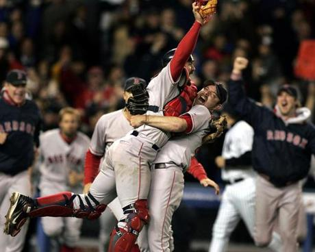 Reliever Alan Embree hoisted Varitek as the Red Sox vanquished their rivals and became the first baseball team to win a playoff series after trailing by three games.
