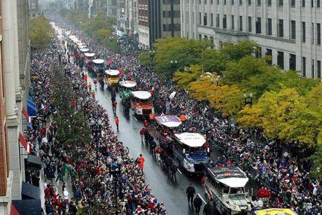 Three days after the series ended, hundreds of thousands of fans turned out in Boston to celebrate the World Series title with a duck boat parade featuring the Red Sox.