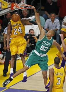 P.J. Brown slammed home two points at the end of the third quarter of Game 4 as the Celtics cut the Lakers' lead in the game to two.