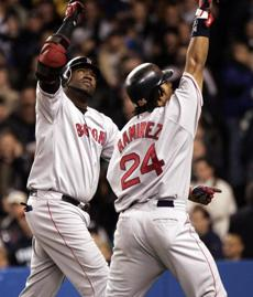 In Game 7, Ortiz launched a two-run home run in the first inning that scored Ramirez for a 2-0 Red Sox lead.