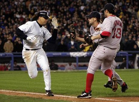 Rodriguez was called out in the eighth inning of Game 6 after umpires ruled he illegally tried to slap the ball away from Red Sox pitcher Bronson Arroyo.