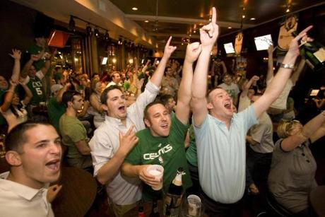Fans at the The Stadium sports bar and grill exulted as they watched the final minutes of Game 6.