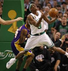 Rondo kept the ball away from Bryant during fourth-quarter action.