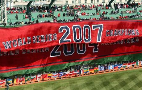 Five months later, the Red Sox unveiled yet another championship banner.