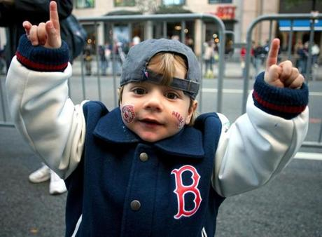 Two-year-old Marco Carrillo witnessed his first Red Sox championship.