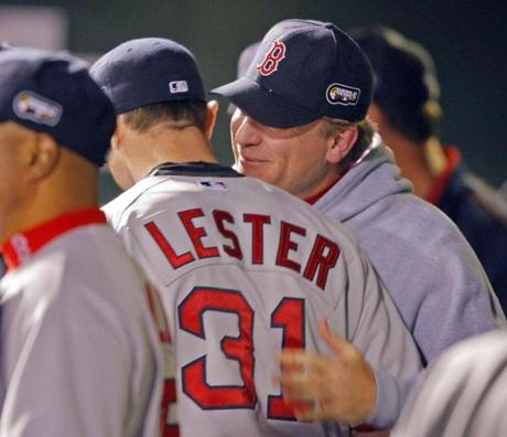 Schilling shared a moment with fellow starter Jon Lester, who led the Red Sox to a 4-3 win in Game 4.