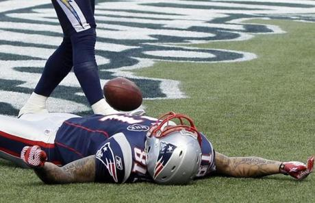 Aaron Hernandez needed a breather in the end zone after nabbing a first-quarter touchdown.