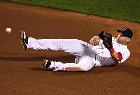 Red Sox shortstop Marco Scutaro, tossing the ball to second         baseman Dustin Pedroia after a diving grab on a grounder by         Toronto's J.P. Arencibia (the runner was safe), at Fenway Park,         Sept. 13, 2011 — ''First of all, I didn't know if I could get to         the ball. It was on the other side of second. Dustin [Pedroia]         was covering. We kind of communicate where we are playing and         try to figure out who is going to cover the bag. We've been         playing long enough together to know each other. When the ball         was hit, I thought, 'Just go get it.' I dove. After I got it, my         reaction was just try to flip it with my glove. There was no time         to get it out of my glove. I was thinking hopefully to make a         good throw. There was a lot of dirt. Unfortunately I didn't get         a good flip to him but hopefully next time I will.