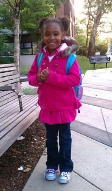Xolani Grophear on her first day of school at Jackson Mann school in Allston.