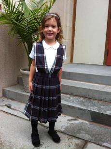 Ayla Polson on her first day of school at St. Mary's school in Brookline.