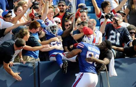 Drayton Florence leaped into the stands to celebrate a touchdown off one of those interceptions in the fourth quarter.