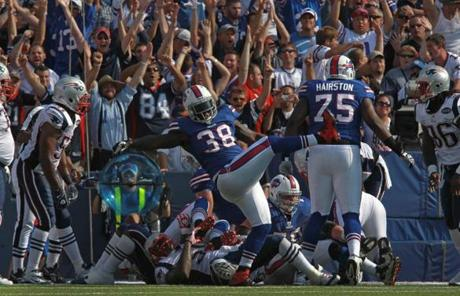 Bills running back Corey McIntyre gave the Patriots the boot after the Bills tied the game at 24-24 during the fourth quarter.