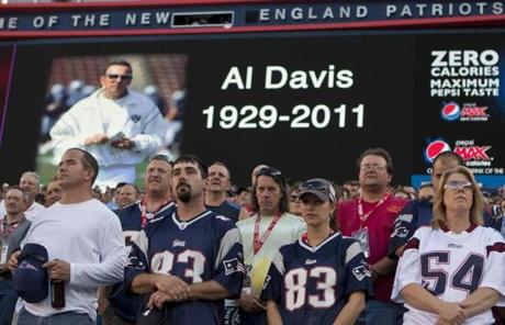 The Patriots honored late Raiders owner Al Davis with a moment of silence prior to the game.