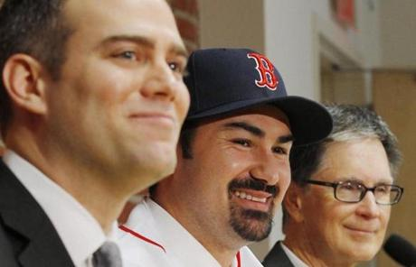 Epstein also welcomed first baseman Adrian Gonzalez in a trade from San Diego. He later signed Gonzalez to a seven-year, $154 million deal.