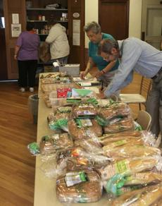 "People ""shopping"" for food at Brookline food pantry at St Paul's Episcopal Church and about increased demand at area food pantries."