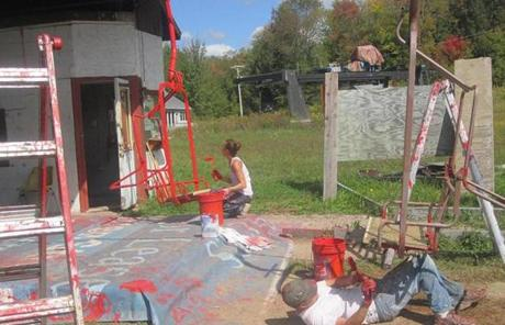 Volunteers have been active in the restoration,  even painting chairlifts at the 200-acre ski area.