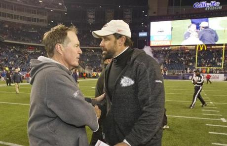 Belichick shook hands with Haley after the game.
