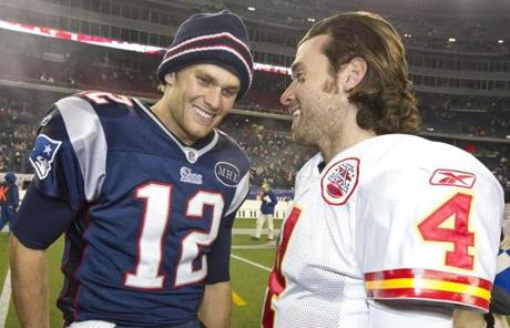 The QBs were all smiles as Brady chatted with Palko after the game.