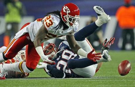 Kendrick Lewis of the Chiefs recovered a first quarter onsides kick, but a penalty on the play negated the turnover.