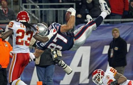 Gronkowski sailed into the end zone during the third quarter, putting the Pats up 17-3.