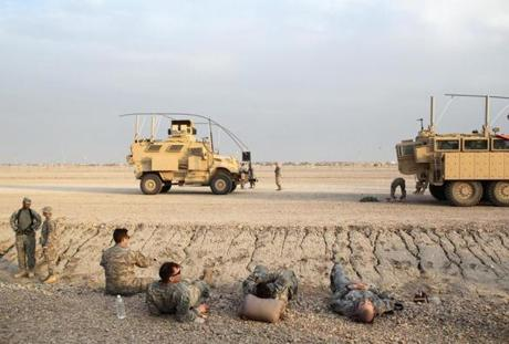 Iraq 12/16/2011 Members of the 2nd Brigade 82 Airborne Division members at Camp Adder for a extended time from their road march.The paratroopers were taking it easy from the journey. Jonathan Wiggs Boston Globe Staff / Photographer Reporter:Section: Metro:Slug:Reporter Brian MacQuarrie(These Photos are for an upcoming story)