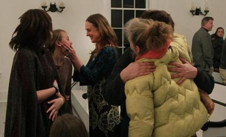 Stockbridge, VT - 12-18-11- People greet each other after the annual Christmas Pageant at the Stockbridge Meeting House. (Globe staff photo / Bill Greene) section:met, reporter:filipov, topic:25irene
