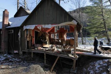 Stockbridge, VT - 12-12-11- Don Fielder (cq) and his home which was destroyed during the floods of Tropical Storm Irene. (Globe staff photo / Bill Greene) section:met, reporter:filipov, topic:25irene