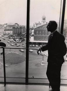 12/17/1969 Mayor Kevin White looks down on (?) Square at Christmas trees.