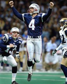 Adam Vinatieri delivered the Patriots their first championship with a game-ending field goal in Super Bowl XXXVI.